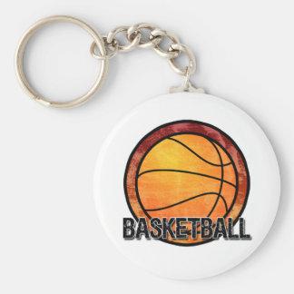 Basketball Emblem Red Orange Keychain