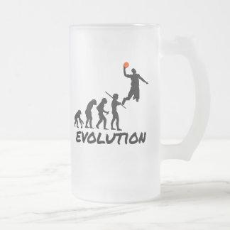 Basketball Evolution Frosted Glass Beer Mug