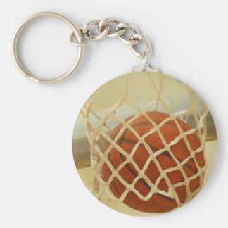 Basketball falling through hoop keychains