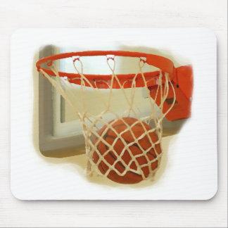 Basketball falling through hoop mouse pad