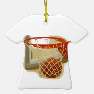 Basketball falling through hoop Double-Sided T-Shirt ceramic christmas ornament