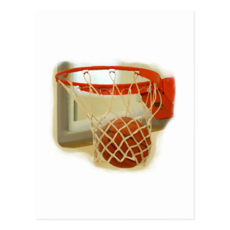 Basketball falling through hoop postcard
