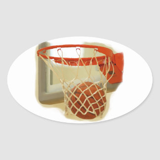 Basketball falling through hoop oval stickers