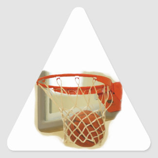 Basketball falling through hoop triangle sticker
