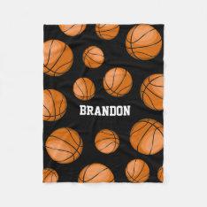 Basketball Fan Custom Name Black Fleece Blanket at Zazzle