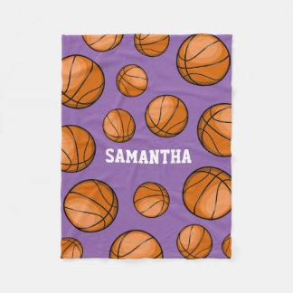 Basketball Fan Custom Name Purple Fleece Blanket