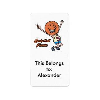 basketball fanatic address label