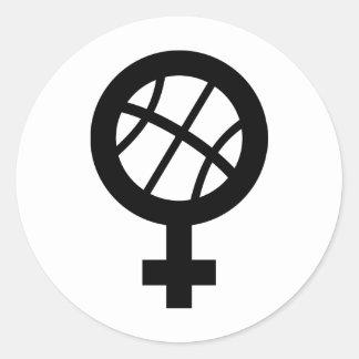 basketball female round sticker