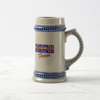 basketball fever blue and orange design beer stein