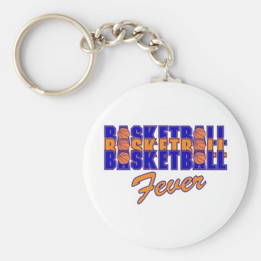 basketball fever blue and orange design key chain