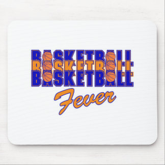 basketball fever blue and orange design mouse pad