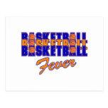 basketball fever blue and orange design post cards