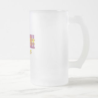 basketball fever purple and gold design frosted glass beer mug