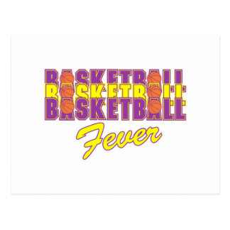 basketball fever purple and gold design postcard
