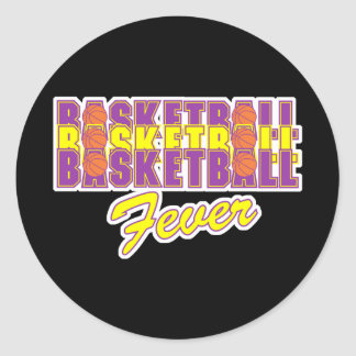 basketball fever purple and gold design round stickers