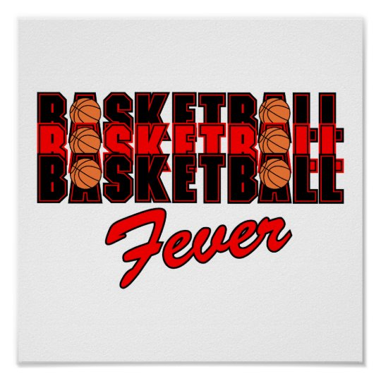 basketball fever red and black design poster
