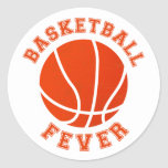 Basketball Fever Round Stickers