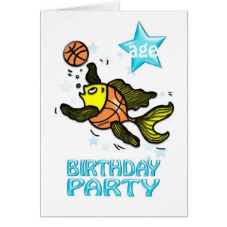 BASKETBALL FISH FUN BIRTHDAY PARTY INVITATION