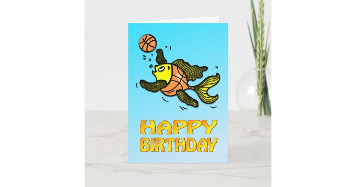 Basketball Fish Funny Cute Cartoon Birthday Card Zazzle Com