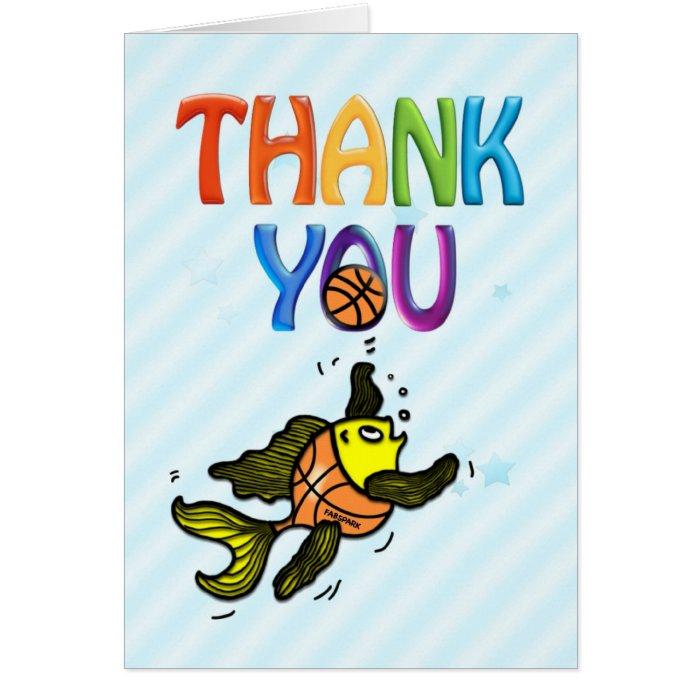 Basketball Fish funny cute cartoon THANK-YOU CARD