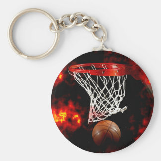 Basketball & Flames Keychains