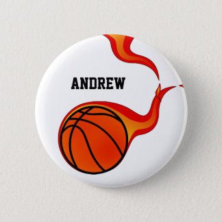 basketball flaming ball pinback button