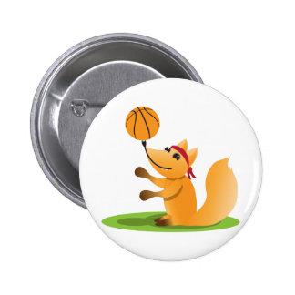 Basketball fox pinback button