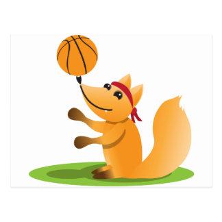 Basketball fox postcard