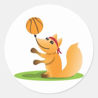 Basketball fox round stickers