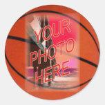 Basketball Frame Template Round Sticker