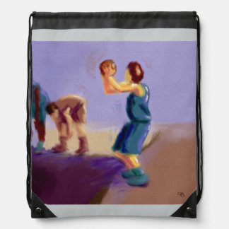 Basketball Free Throw Art Drawstring Bag