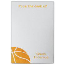 Basketball From The Desk of Coach Personalized Post-it® Notes