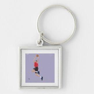 Basketball Game Art Keychain