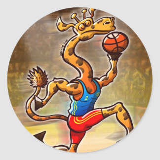 Basketball Giraffe Classic Round Sticker
