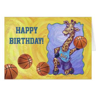 Basketball Giraffe Happy Birthday Card