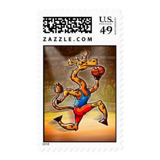 Basketball Giraffe Postage Stamp