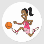 Basketball Girl Classic Round Sticker
