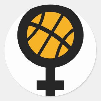 basketball girl female round sticker
