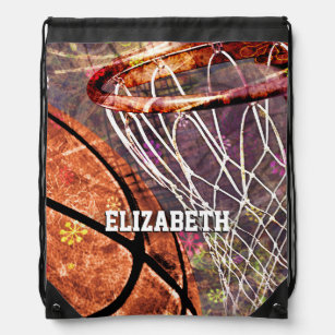 44b5079148e5 Basketball Girls purple pink her name Drawstring Backpack