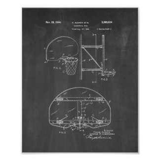 Basketball Goal Patent - Chalkboard Poster