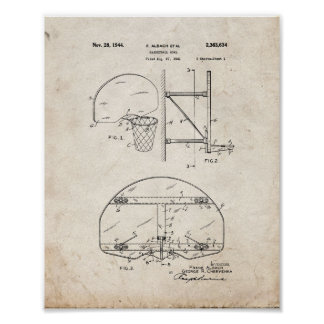 Basketball Goal Patent - Old Look Poster