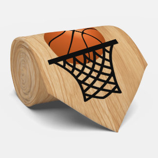basketball going into hoop tie