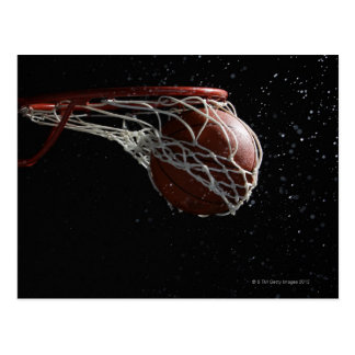 Basketball going through hoop 2 postcard