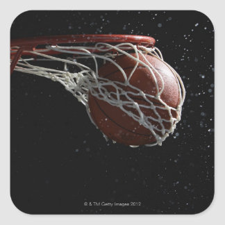Basketball going through hoop 2 square sticker