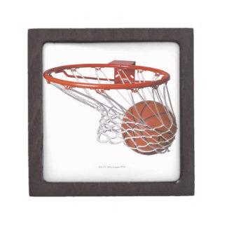 Basketball going through hoop gift box