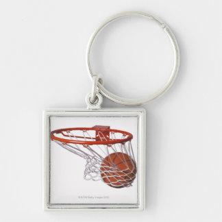 Basketball going through hoop keychain