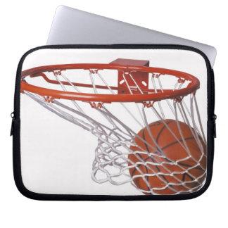 Basketball going through hoop laptop sleeve