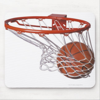 Basketball going through hoop mouse pad
