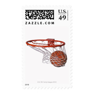 Basketball going through hoop postage stamps