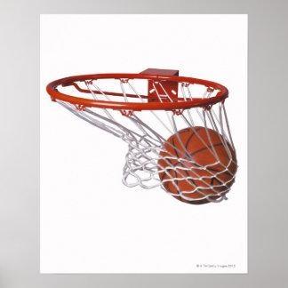 Basketball going through hoop poster